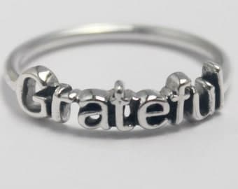 Sterling Silver Grateful, 925 stack ring with Inspiring word