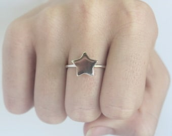Silver Star Ring, 925 sterling silver Stacking ring, Statement ring, symbol, Cosmos, coctail ring