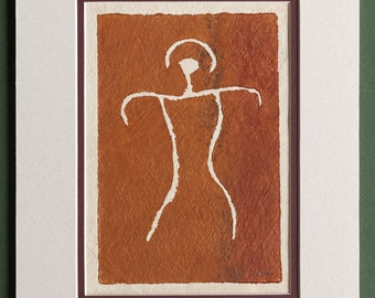 Female Figure - Hawaiian Petroglyph Design  on Tapa Cloth - Matted and READY TO FRAME