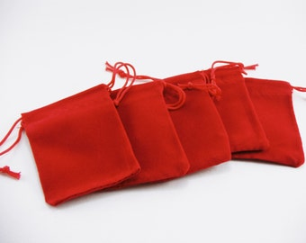 10 Pcs - Small Red Velvet Drawstring Pouches 2 Inch wide x 2 6/8 Inch long BAG002