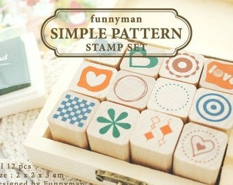 Simple Pattern -Wooden Rubber Stamp Set