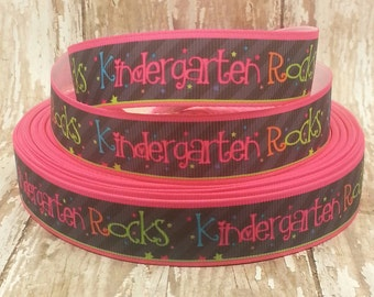 7/8 Grosgrain Kindergarten Rocks Ribbon 1 yard