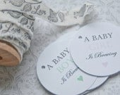 A Baby is Brewing Gift Tags-Baby Shower Favor Tag-Baby Shower favors-Coffee Favors-Tea Favors-Set of 40