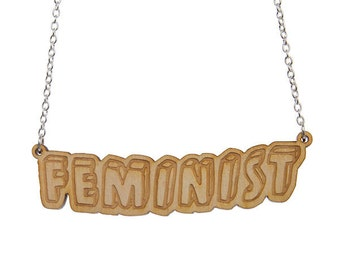 Feminist necklace - laser cut wood