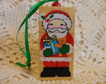 Christmas Wooden Block Puzzle Ornament * CHRISTMAS Wooden Blocks * Old Fashioned Christmas *  Santa Claus* Reindeer * Snowman * King Soldier