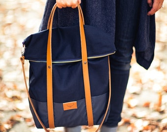 Navy blue, cotton tote handbag WOLF / natural leather handles and removable strap