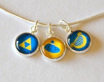 Legend of Zelda Triforce Ocarina Shiek Harp Necklace