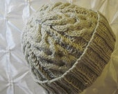 RESERVED - Knitted Ivory Heather Fisherman Staghorn Cabled Watchcap