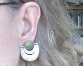 Sterling Mexico Jade Screwback Earrings