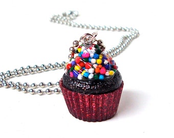 Chocolate cupcake necklace, red cupcake pendant, candy resin, sprinkles cupcake charm, kawaii necklace