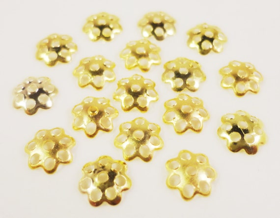 Gold Bead Caps 6mm Yellow Gold Tone Metal Thin Flower Beadcap End Cap Jewelry Making Jewelry Findings 100pc Fits Most 6mm-8mm Beads