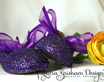 FLOWER GIRL SHOES~Wedding Shoes~ Glittered Ballet Flats~ Bright Purple~ Eggplant~ Lavender~ Pink; Custom Colors~  Fast Shipping!