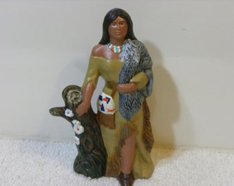 """Native American Woman Lady Lakota Tribe Tribal Ceremony Hand Painted Ceramic Statue Figurine is Colorful, Gift, Indiana USA made, 5."""" Tall"""