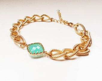 Chunky Mint Stone Bracelet - Gold Plated Stacking Bracelet - Gemstone Bracelet - Turquoise