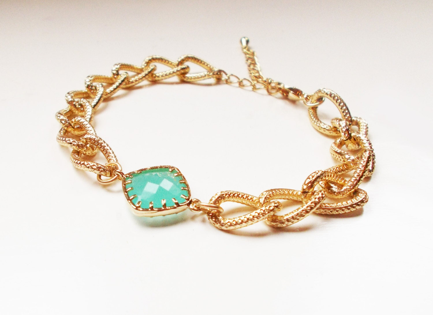 chunky mint bracelet gold plated by lyndyloudesigns