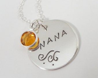 Sterling Silver Personalized Necklace with Swarovski Crystal Birthstone - Hand Stamped Nana Necklace - Grandmother Necklace