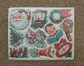 Vintage Christmas Sticker Decal Lot 1950s Holiday Santa Claus Cat Decorations Unused 10 Examples