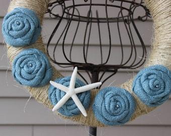 Sisal Yarn Wreath/Burlap Flowers/Roses/Starfish/Beach/Summer
