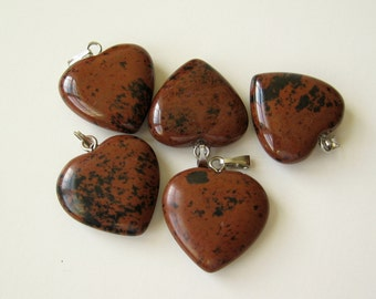 Jasper stone heart charm pendant 20mm 1pc