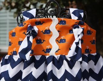 SALE Size 18-24m Ready to Ship Girls Nautical Whale Chevron Summer Knot Dress