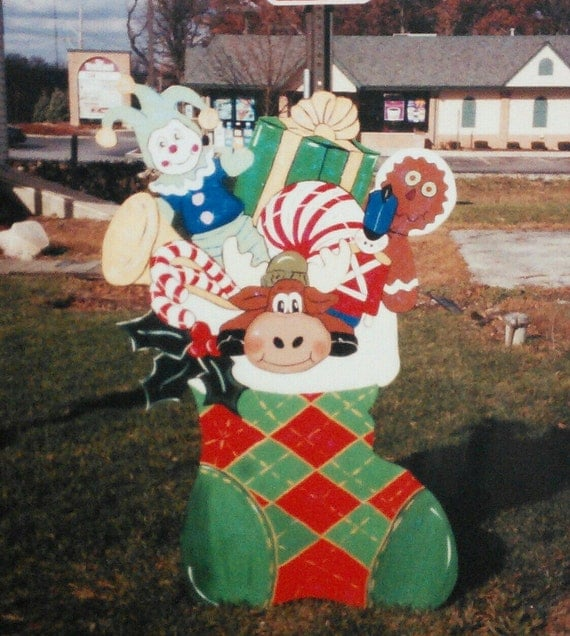 Christmas ornament yard art : Items similar to christmas stocking bursting with gifts