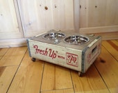 Shabby industrial Chic Vintage Elevated Dog Feeder Bowl Holder wooden wood Crate White SEVEN UP Crate 7up