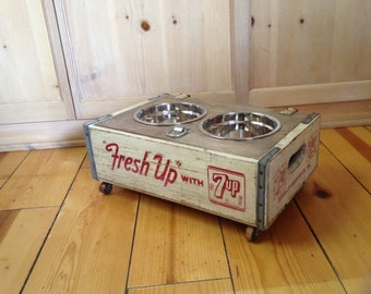 Shabby Industrial Chic Vintage Elevated Dog Feeder Bowl