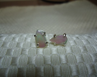 Pear Cabochon Mother of Pearl Earrings in Sterling Silver   #796