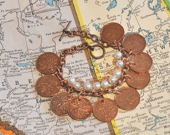 Upcycled, Repurposed, Canadian Coins Pennies Bracelet 1970s 1980s, 10 penny bracelet, 9 Pearls and Beads, OOAK, Copper Bracelet