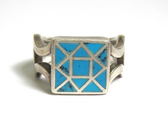 Sterling Silver Square Shape Turquoise Ring - Size 6 - Mosaic Turquoise - Weight 7 Grams - Southwestern # 1932