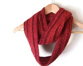 Long Red Scarf .. Striped Infinity Scarf .. Long Scarf .. Knit Eternity Scarf .. Striped Scarf .. Red Circle Scarf .. Dark Red Scarf