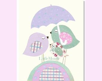 Lavender Nursery, Purple Nursery Art Prints, Baby Girl Nursery Art,  Purple and Blue Nursery Prints, Birds, Art for a Little Girl