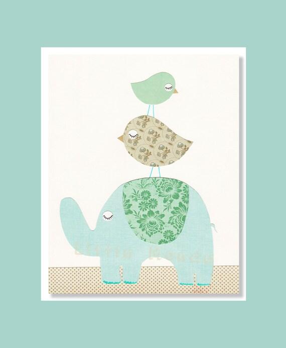 Baby Girl Nursery Prints, Elephant Nursery Prints, Blue Nursery Art, Turquoise, Green, Pastel, French Nursery,