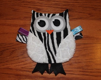 Zebra and White Striped Owl Crinkle Toy