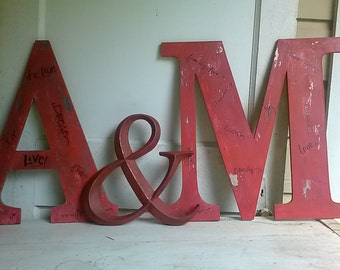 Large wood letters, distressed lettering, initials