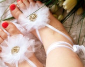 White Barefoot Sandals Bridal Shoes Beach Wedding Sandals Floral Spring Outdoor Ceremony Barefoot Jewelry Ribbon Swarovski Crystal Sandals