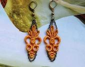 Orange Lace Antique Brass Earrings - Women's Accessories - Jewelry