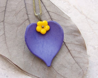 Purple Yellow Leaf Necklace Resin and Glass Floral Jewelry