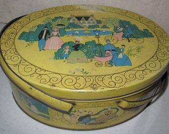 vintage metal yellow box with handles