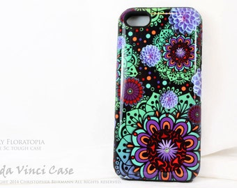 Modern Floral iPhone 5c Tough Case - Funky Floratopia - Artistic iPhone 5c Case With Green and Purple Paisley Art