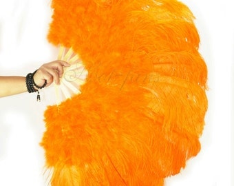 """27""""x 53"""" Orange Marabou & Ostrich Feathers Hand Fan With Bamboo Staves Burlesque Dance"""