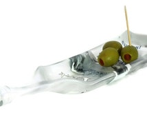 Small Melted Grey Goose Vodka Bottle Glass Dish with Raised Edges - 375ml Recycled Bottle