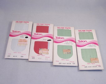Vintage Set of 4 - Woven Edge Straight Seam Tape - White, Red, 2 Mint Green - Brand New in Package - Destash