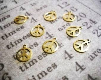 Gold Peace Sign Charms Brass Peace Signs 10mm SAMPLE