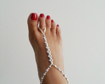 Ivory wedding Silvery colored beads whit ivory macrame Anklet, for sale in single,Foot jewelry, Sexy, Lolita, Yoga, ,bridesmaid