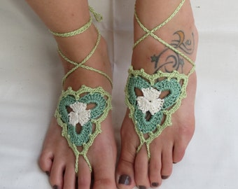 Barefoot Sandals-Crochet-Foot Wrap-Jewelry-Festival-Cotton-Bridal White-Sage-Soft Lime