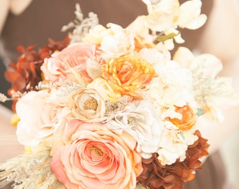 Natural Woodsy Blush, Coral and Rich Brown Bridesmaid Bouquets