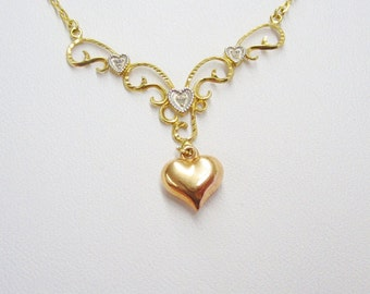 Reversable Sterling Silver Four Heart  Dangling Diamond Necklace Filigree Yellow & Rose GP 18 inch