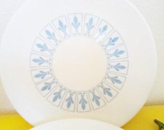 Vintage Homer Laughlin Blue Fleur De Lis  Set of Four Bread and Butter or Dessert Plates  Mid Century Modern
