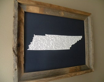 Tennessee In A Nutshell Word Art Map Print (Dark Blue) - Unframed